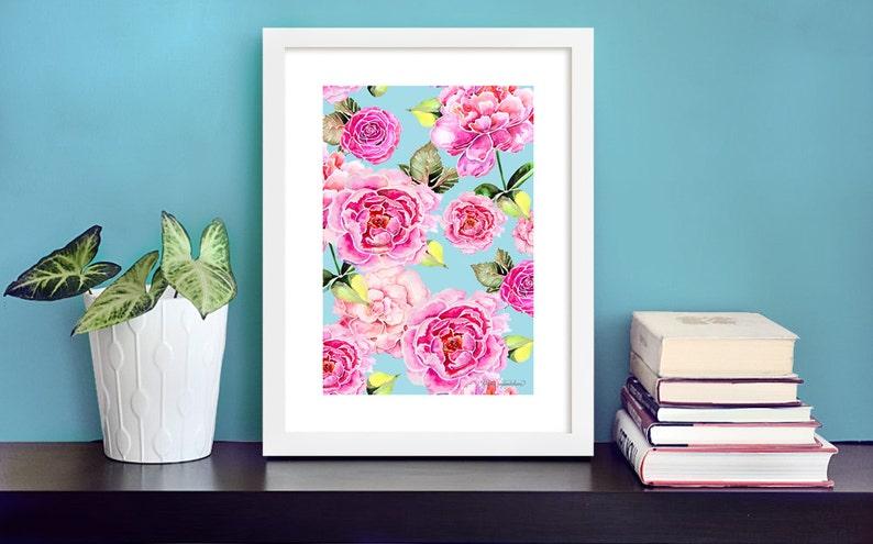 Spring feeling  peony art print by original watercolor image 0