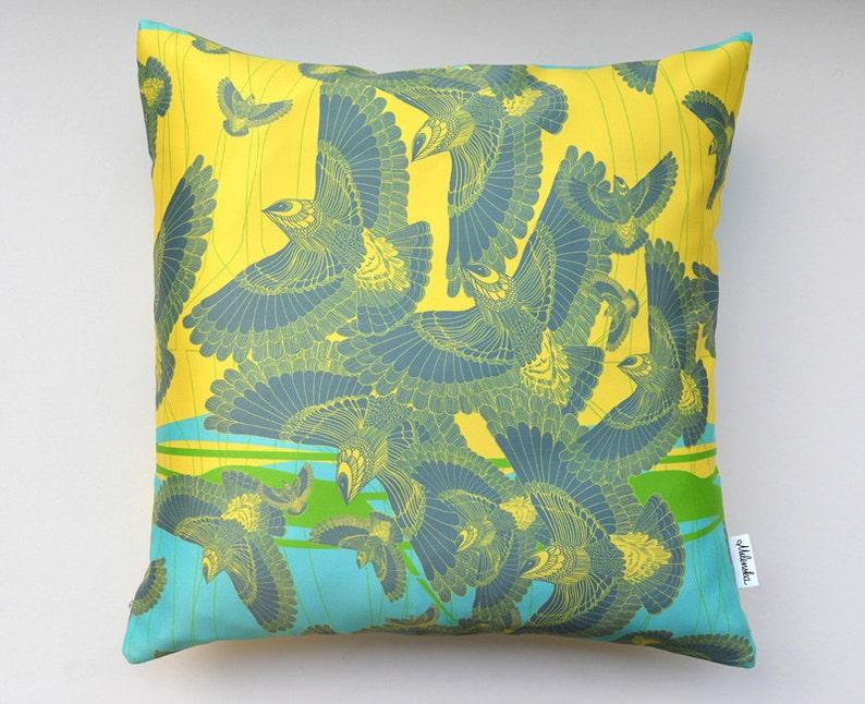 Flock of birds pillow cover by original design bright lemon image 0