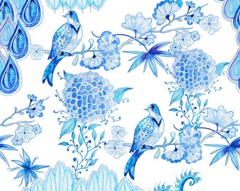 Chinoiserie pattern design, Instant download file for print, 4700x4700px, 150 dpi, JPEG Only