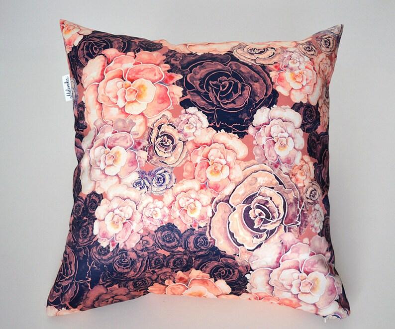 Floral Satin Pillow Cover 18x18' 45x45 cm image 0