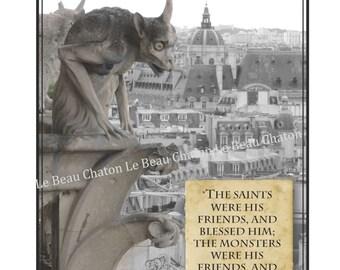 Gargoyles Notre Dame Paris  instant Digital Download Halloween photo and  printable collage sheet