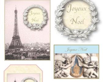 French Christmas Digital Downloads:  Joyeux Noel collage sheet gift tags