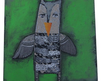 """Mixed Media Painting by Renowned Artist Charlotte Foust """"You're A Hoot"""""""