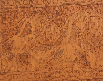 Vintage Flemish Art Co Pyrogravure (WoodBurning) Carving on Wood of 2 Dogs 19x8