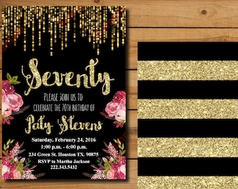 50th Birthday Invitation Gold Glitter Floral