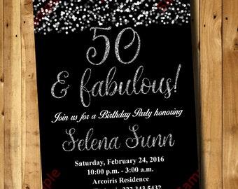 50th Birthday Invitation Silver Glitter
