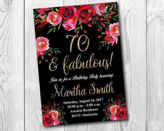 70th Birthday Invitation Watercolor Flowers