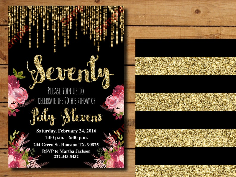 70th Birthday Invitation Gold Glitter Floral