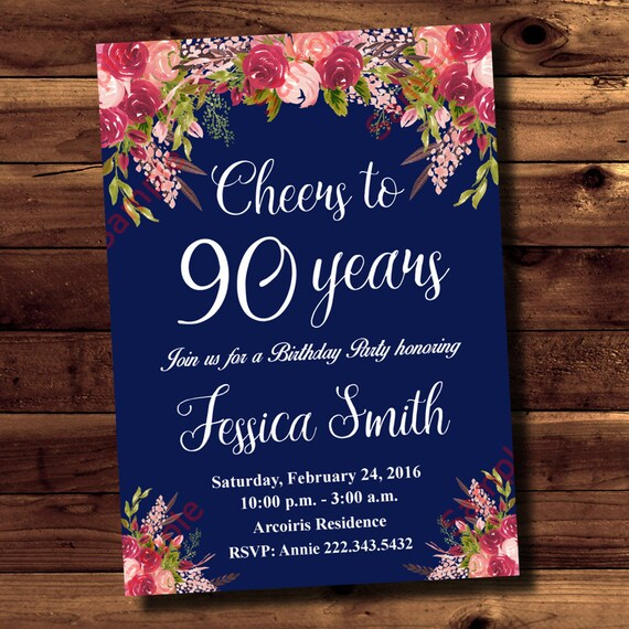 90th Birthday Invitation Cheers Navy Blue