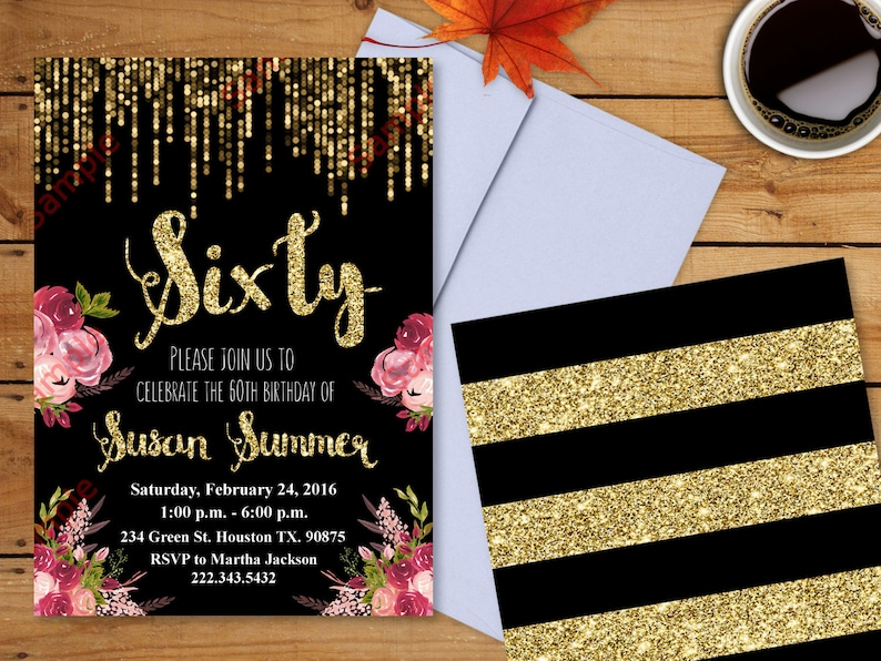 60th Birthday Invitation Gold Glitter Floral