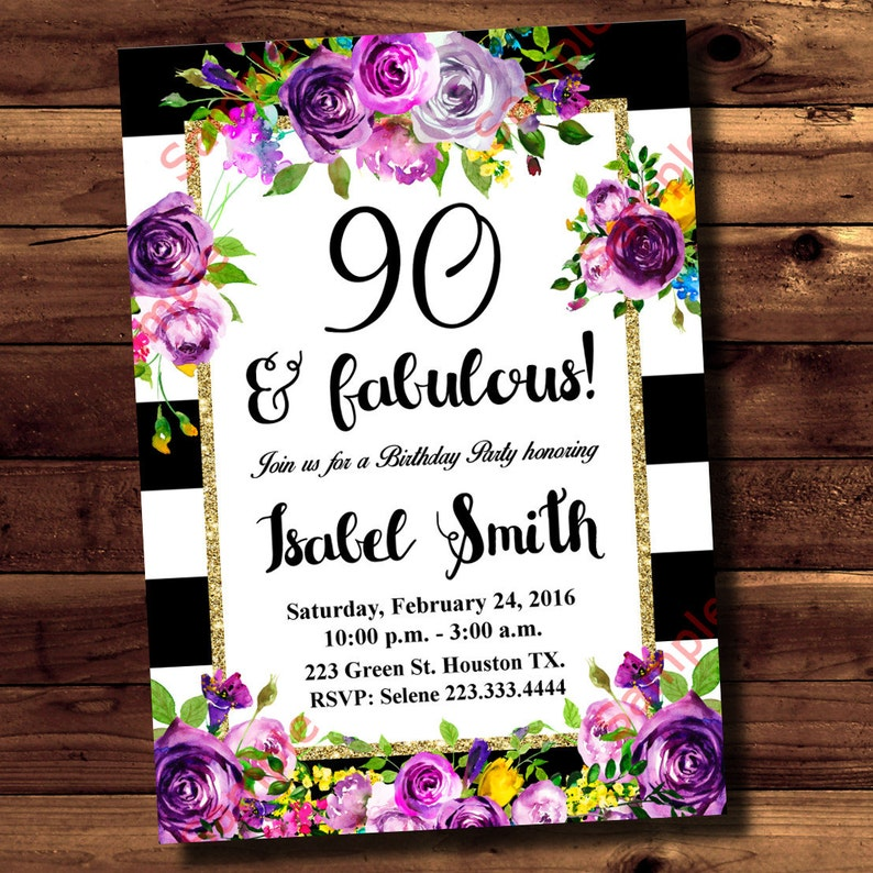 90th Birthday Invitation Watercolor Flowers