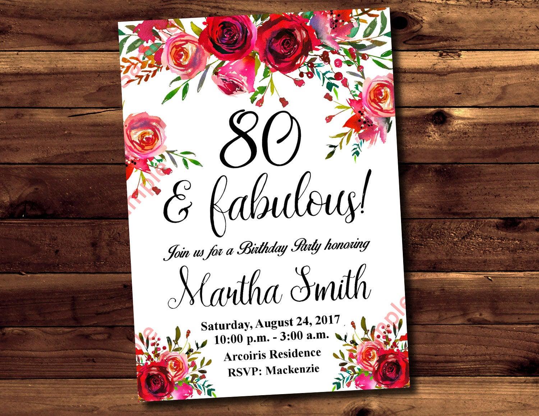 80th Birthday Invitation Watercolor Flowers Invitation   Etsy