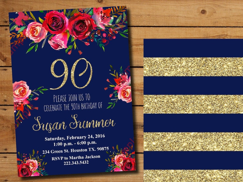 90th Birthday Invitation Navy Floral Flowers