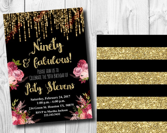 90th Birthday Invitation Gold Glitter Floral