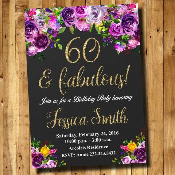 60th Birthday Invitation Watercolor Flowers Invitation