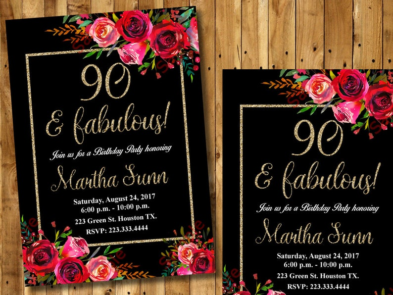90th Birthday Invitation Black Floral Flowers