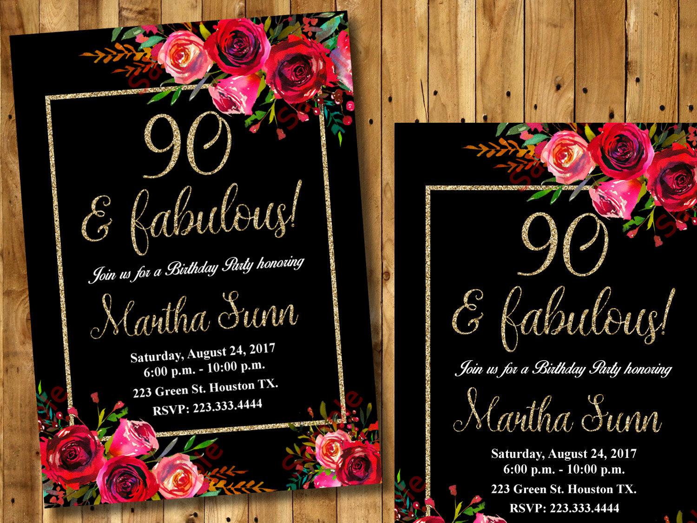 90th Birthday Invitation Black Floral Invitation Flowers Etsy
