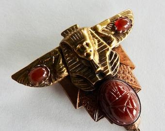 Egyptian Revival Pharaoh Head Scarab Pressed Japanese Glass Brass Brooch