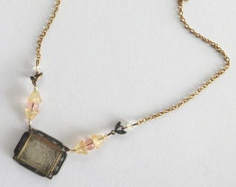 Art Deco Revival Pressed Glass and Brass Necklace