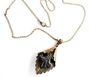 Antique Catalin Fleur de Lis Brass Pendant on Gold Filled Watch Chain