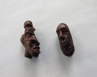 Antique Art Deco Carved Bakelite Blackamoor Tribal Pair of Brooches