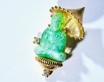 Mid Century Peking Glass Buddha Brooch