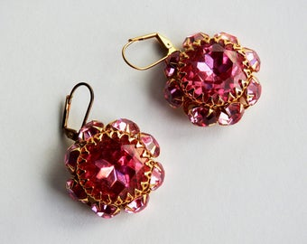 1960s Pink Glass Buttons Earrings on Wires