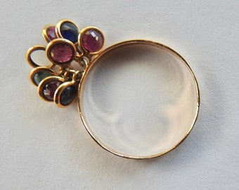 18K Gold Ring with Dangle Crystals or Gem Stones