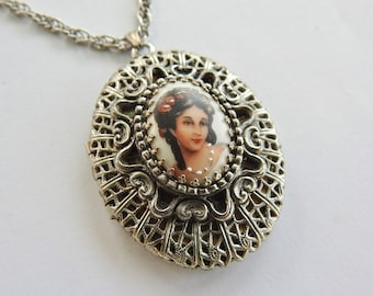 Painted Porcelain Cameo Locket