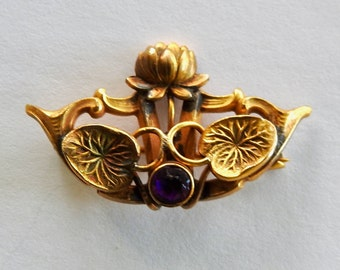 Antique Art Nouveau Lotus Brooch Gold Filled with Purple Stone