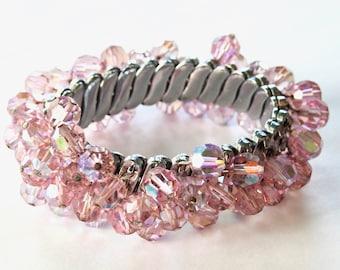 Pink Aurora Borealis Crystal Expansion Bracelet Silver Tone
