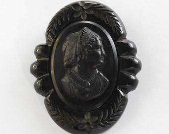 Black Cameo in Carved Bakelite Brooch