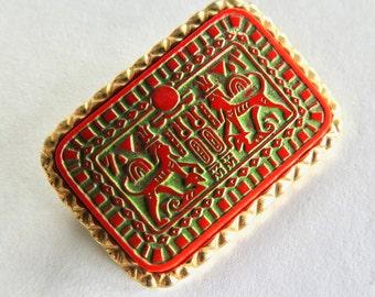 Marvella Egyptian Revival Hieroglyphic Red Czech Glass Brooch