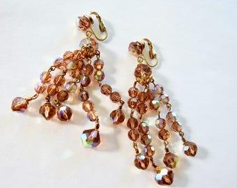 Vintage Champagne Aurora Borealis Crystal  Chandelier Earrings