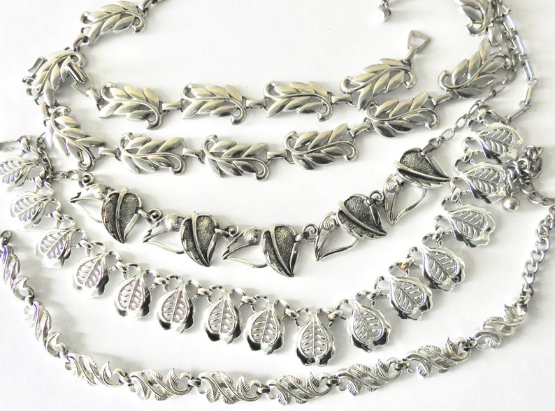 Five Pieces Leaf Jewelry Silver Tone Mid Century