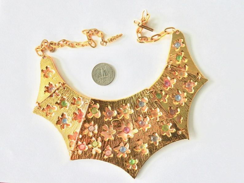 Goldette Solid Bib Mod Flower Power Open Set Crystal Necklace