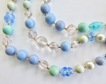 Japan Blues Lucite and Art Glass Triple Strand Necklace