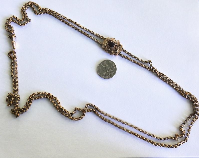 Victorian Gold Filled Garnet Slide Necklace