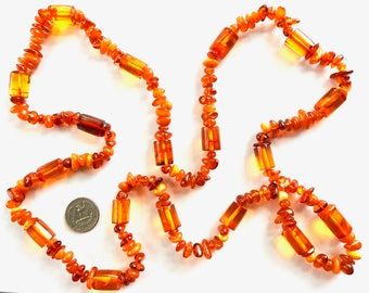 Long Amber Bead Necklace