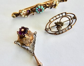 3 Old Pins with Amethyst Crystals
