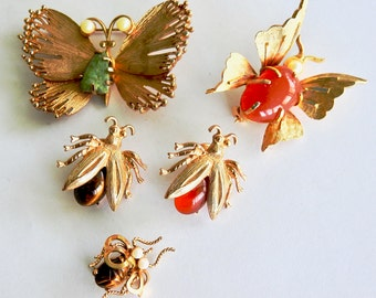 Five Vintage Bug  Brooches with Stone Bodies