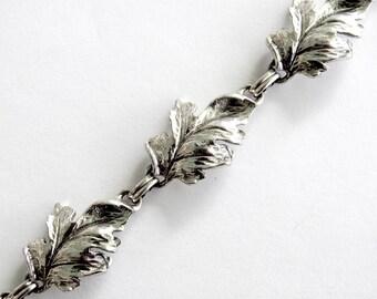 1930s Dane Craft Heavy Sterling Leaf Bracelet