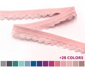 1/2 Inch Decorative Elastic Trim with Lace Edging - Scallop Edging - Picot Decorative Elastic Trim 11mm