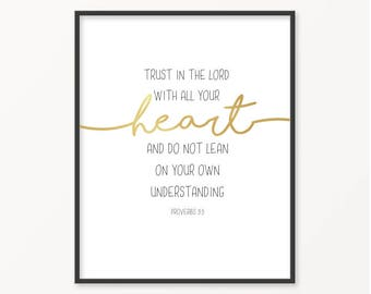 Trust In The Lord, Proverbs 3:5, Gold Foil Print, Scripture