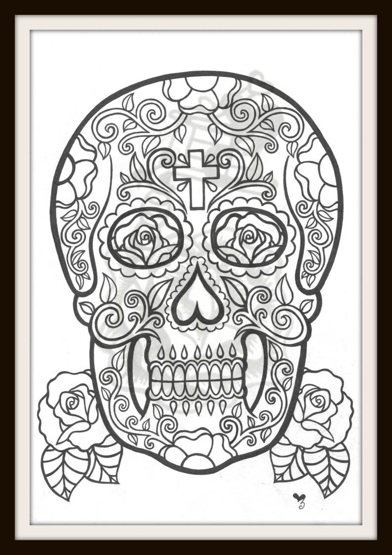 Kleurplaten Voor Volwassenen Tattoo.Tattoo Kleurplaat Volwassen Kleuren Pagina Suiker Skull Etsy