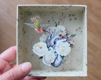 Diorama floral CŒUR - Art collage box