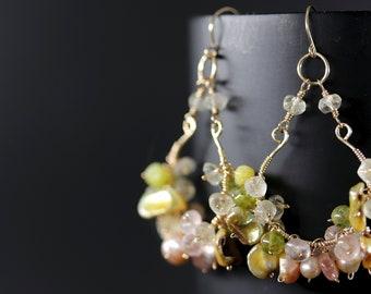 Pink and Green Flower Petal Chandelier Earrings, 14K Gold Filled Wire Wrapped Earrings, Citrine, Rose Quartz, Freshwater Pearl Gemstones