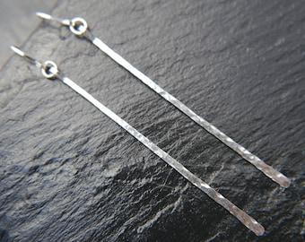 Sterling Silver Earrings, Silver Bar Earrings, Skinny Silver Bar, Bar Dangle Earrings, Hammered Bar Earrings, Minimalist, Simple, Delicate