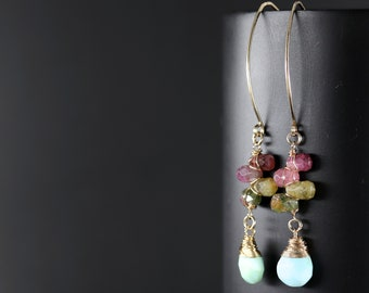 Tourmaline and Peruvian Blue Opal Long Hoop Earrings, 14K Gold Filled Wire Wrapped Gemstone Flower Earrings, Marquise Hoops, Floral