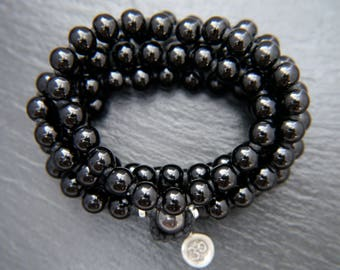 Mala, Black Obsidian, Mala Bracelet, Long Beaded Necklace, Gemstone Bead, Knotted, Gold, Sterling Silver, Charm, Om, Lotus Flower, Leaf, 108